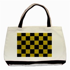 Square1 Black Marble & Yellow Leather Basic Tote Bag