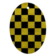 Square1 Black Marble & Yellow Leather Oval Ornament (two Sides)