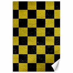 Square1 Black Marble & Yellow Leather Canvas 24  X 36