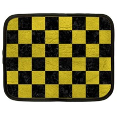 Square1 Black Marble & Yellow Leather Netbook Case (large)