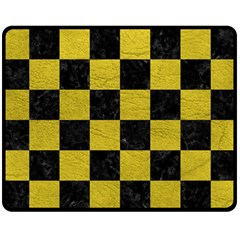Square1 Black Marble & Yellow Leather Fleece Blanket (medium)