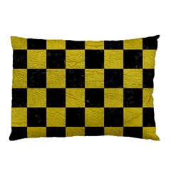 Square1 Black Marble & Yellow Leather Pillow Case (two Sides)