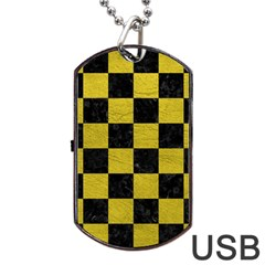 Square1 Black Marble & Yellow Leather Dog Tag Usb Flash (one Side)
