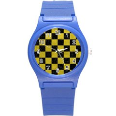 Square1 Black Marble & Yellow Leather Round Plastic Sport Watch (s)