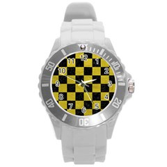 Square1 Black Marble & Yellow Leather Round Plastic Sport Watch (l)