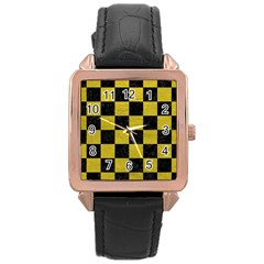 Square1 Black Marble & Yellow Leather Rose Gold Leather Watch