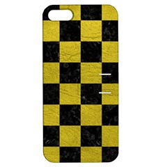 Square1 Black Marble & Yellow Leather Apple Iphone 5 Hardshell Case With Stand