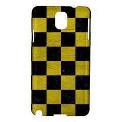 Square1 Black Marble & Yellow Leather Samsung Galaxy Note 3 N9005 Hardshell Case