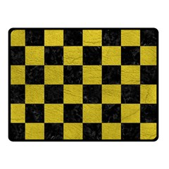 Square1 Black Marble & Yellow Leather Double Sided Fleece Blanket (small)