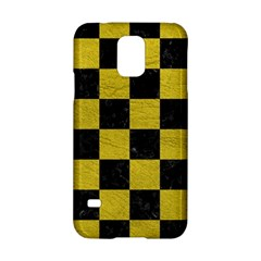 Square1 Black Marble & Yellow Leather Samsung Galaxy S5 Hardshell Case
