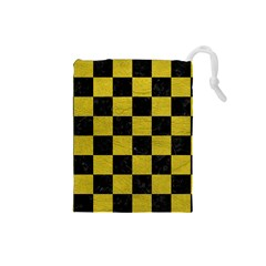 Square1 Black Marble & Yellow Leather Drawstring Pouches (small)