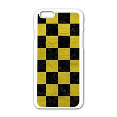 Square1 Black Marble & Yellow Leather Apple Iphone 6/6s White Enamel Case