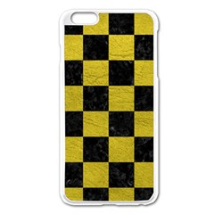 Square1 Black Marble & Yellow Leather Apple Iphone 6 Plus/6s Plus Enamel White Case