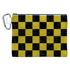 Square1 Black Marble & Yellow Leather Canvas Cosmetic Bag (xxl)