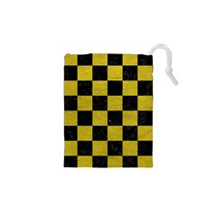 Square1 Black Marble & Yellow Leather Drawstring Pouches (xs)
