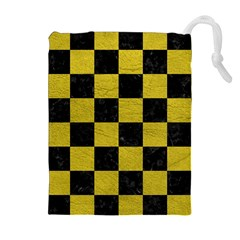 Square1 Black Marble & Yellow Leather Drawstring Pouches (extra Large)