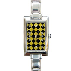 Square2 Black Marble & Yellow Leather Rectangle Italian Charm Watch