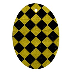 Square2 Black Marble & Yellow Leather Ornament (oval)