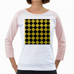 Square2 Black Marble & Yellow Leather Girly Raglans