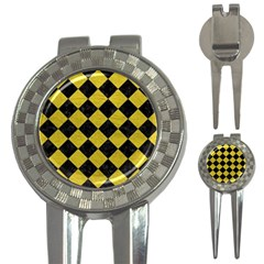 Square2 Black Marble & Yellow Leather 3 In 1 Golf Divots