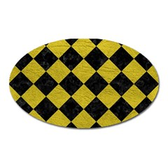 Square2 Black Marble & Yellow Leather Oval Magnet