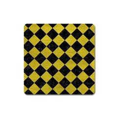 Square2 Black Marble & Yellow Leather Square Magnet