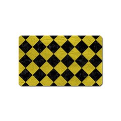 Square2 Black Marble & Yellow Leather Magnet (name Card)
