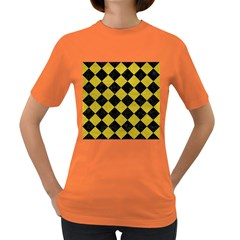 Square2 Black Marble & Yellow Leather Women s Dark T Shirt