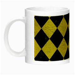 Square2 Black Marble & Yellow Leather Night Luminous Mugs