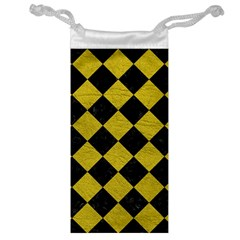 Square2 Black Marble & Yellow Leather Jewelry Bag