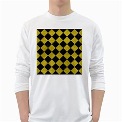 Square2 Black Marble & Yellow Leather White Long Sleeve T Shirts