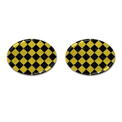 Square2 Black Marble & Yellow Leather Cufflinks (oval)