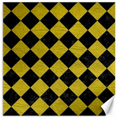 Square2 Black Marble & Yellow Leather Canvas 20  X 20