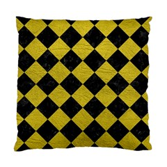 Square2 Black Marble & Yellow Leather Standard Cushion Case (one Side)