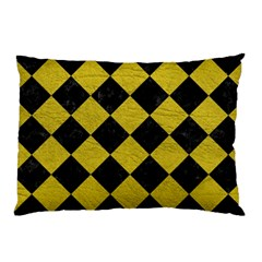 Square2 Black Marble & Yellow Leather Pillow Case