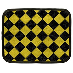 Square2 Black Marble & Yellow Leather Netbook Case (xxl)