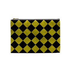 Square2 Black Marble & Yellow Leather Cosmetic Bag (medium)