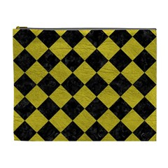 Square2 Black Marble & Yellow Leather Cosmetic Bag (xl)