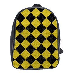 Square2 Black Marble & Yellow Leather School Bag (large)