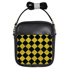 Square2 Black Marble & Yellow Leather Girls Sling Bags