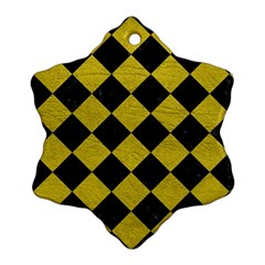 Square2 Black Marble & Yellow Leather Ornament (snowflake)