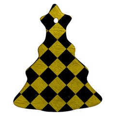 Square2 Black Marble & Yellow Leather Ornament (christmas Tree)