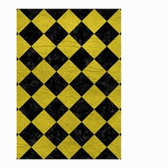 Square2 Black Marble & Yellow Leather Small Garden Flag (two Sides)