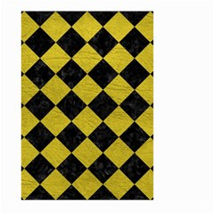Square2 Black Marble & Yellow Leather Large Garden Flag (two Sides)