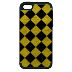 Square2 Black Marble & Yellow Leather Apple Iphone 5 Hardshell Case (pc+silicone)