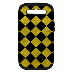Square2 Black Marble & Yellow Leather Samsung Galaxy S Iii Hardshell Case (pc+silicone)