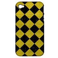 Square2 Black Marble & Yellow Leather Apple Iphone 4/4s Hardshell Case (pc+silicone)