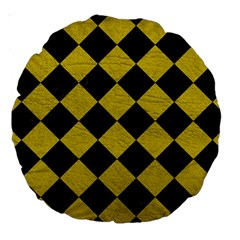 Square2 Black Marble & Yellow Leather Large 18  Premium Round Cushions