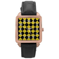 Square2 Black Marble & Yellow Leather Rose Gold Leather Watch