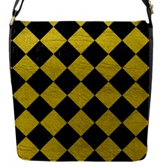 Square2 Black Marble & Yellow Leather Flap Messenger Bag (s)